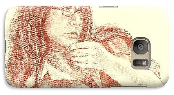 Galaxy Case featuring the painting Self Portrait Then by Carol Berning