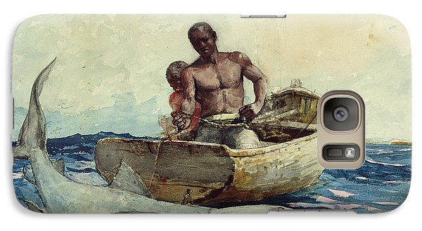 Shark Fishing Galaxy S7 Case by Winslow Homer