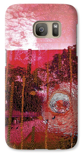 Galaxy Case featuring the photograph Abstract Shattered Glass Red by Andy Prendy