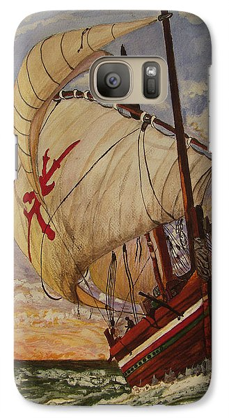 Galaxy Case featuring the painting Ship On A Tossing Sea by Joy Braverman