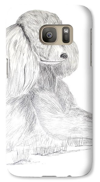 Galaxy Case featuring the drawing Silver Poodle by Maria Urso