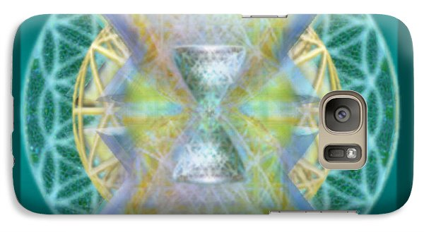 Galaxy Case featuring the digital art Silver Torquoise Chalice Matrix Subtly Lavender Lit On Gold N Blue N Green With Teal by Christopher Pringer
