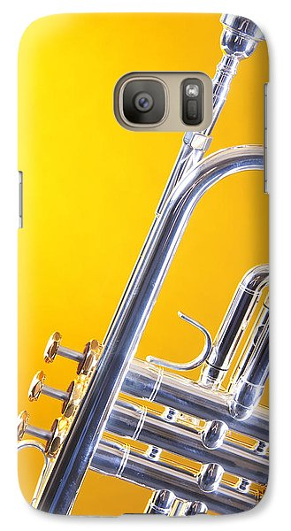 Trumpet Galaxy S7 Case - Silver Trumpet Isolated On Yellow by M K  Miller