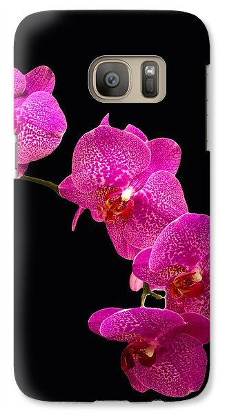 Galaxy Case featuring the pyrography Simply Beautiful Purple Orchids by Michael Waters