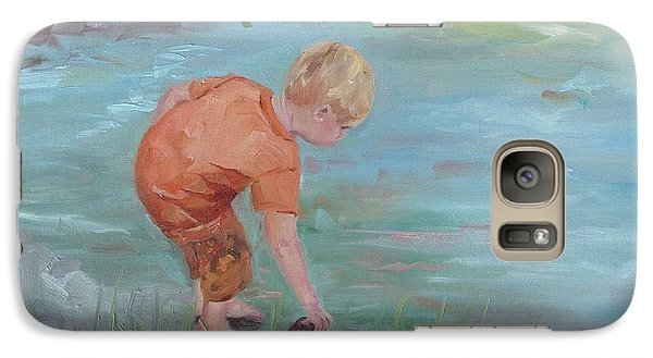 Galaxy Case featuring the painting Skipping Stones by Carol Berning