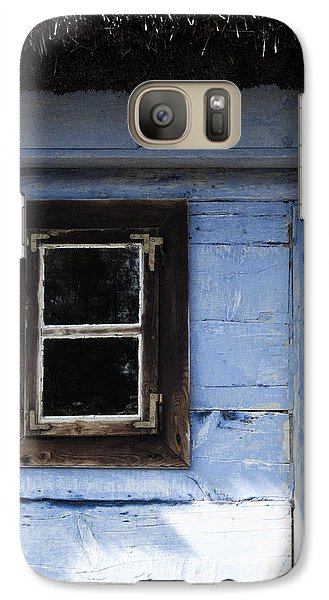 Galaxy Case featuring the photograph Small Window On Blue Wall by Agnieszka Kubica
