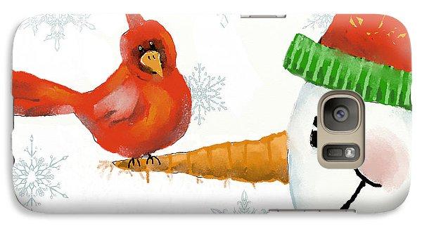 Galaxy Case featuring the digital art Snowman And The Cardinal by Arline Wagner