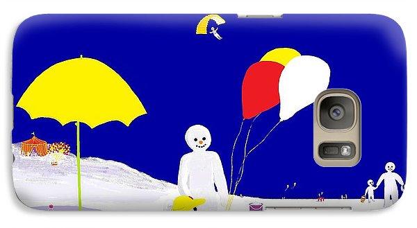 Galaxy Case featuring the digital art Snowman Family Holiday by Barbara Moignard