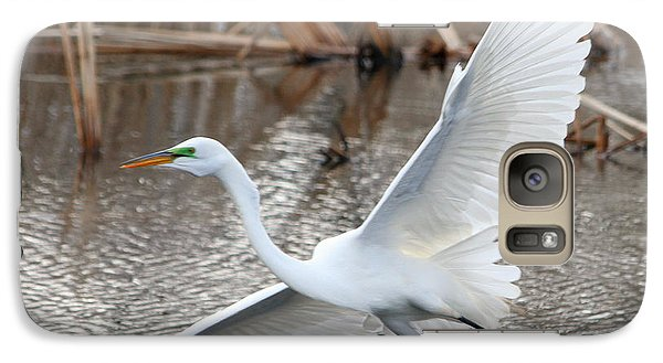 Galaxy Case featuring the photograph Snowy Egret Wingspan by Mark J Seefeldt