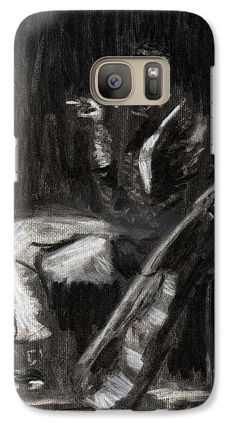 Galaxy Case featuring the drawing Son House In Charcoal by Denny Morreale