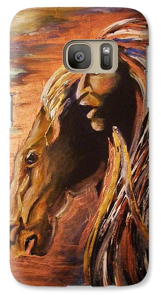 Galaxy Case featuring the painting Soul Of Wild Horse by Karen  Ferrand Carroll