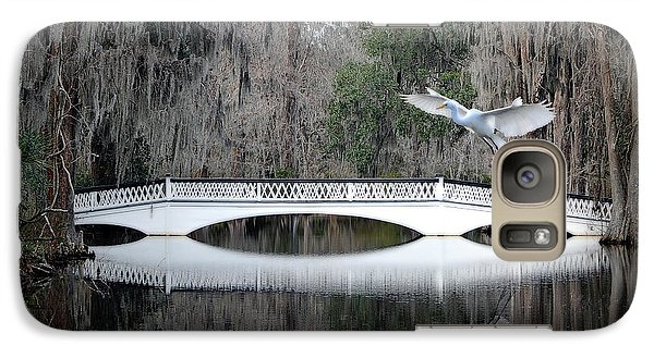 Galaxy Case featuring the photograph Southern Plantation Flying Egret by Dan Friend