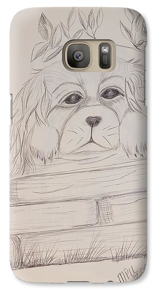 Galaxy Case featuring the drawing Spaniel Pup by Maria Urso