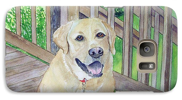 Galaxy Case featuring the painting Spencer On Porch by Carol Flagg