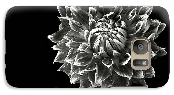 Galaxy Case featuring the photograph Starburst Dahlia In Black And White by Endre Balogh