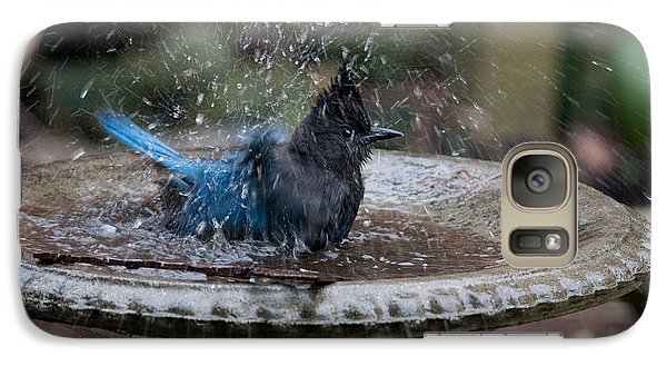 Galaxy Case featuring the digital art Stellar Jay In The Birdbath by Carol Ailles