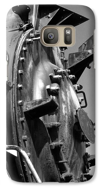 Galaxy Case featuring the photograph Steme Engine Front Black And White by Darleen Stry