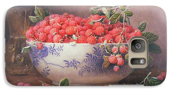 Raspberry Galaxy S7 Case - Still Life Of Raspberries In A Blue And White Bowl by William B Hough