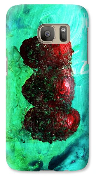 Galaxy Case featuring the painting Still Life Red Apples Stacked On Green Table And Wall Fruit Is About To Topple Smush Impressionistic by M Zimmerman MendyZ