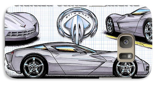 Galaxy Case featuring the drawing 2010 Stingray Concept Corvette by K Scott Teeters
