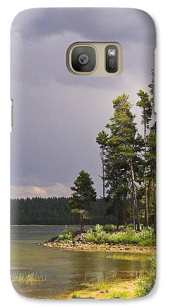 Galaxy Case featuring the photograph Storm Clouds Over A Lake by Anne Mott