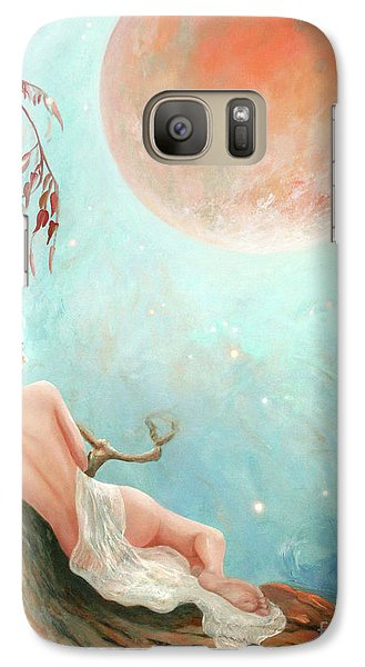 Galaxy Case featuring the painting Strawberry Moon Nymph by Michael Rock