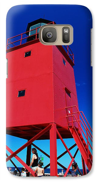 Galaxy Case featuring the photograph Summer Fun Down By The Lighthouse by Janice Adomeit