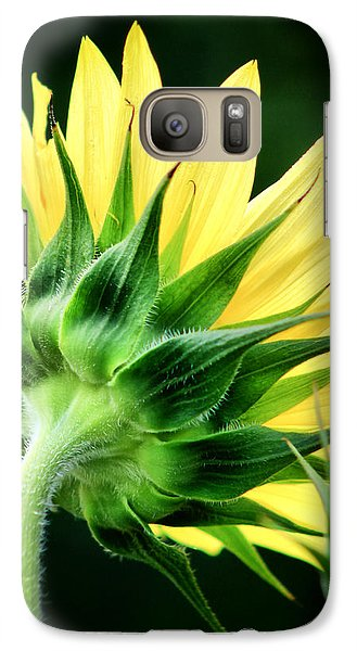 Galaxy Case featuring the photograph Sunflower With Bee by Lynne Jenkins