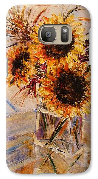 Galaxy Case featuring the painting Sunflowers by Karen  Ferrand Carroll