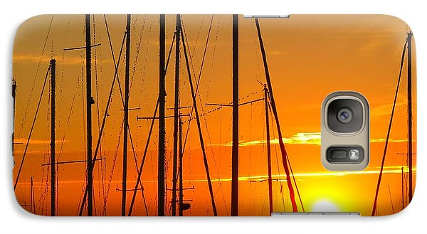Galaxy Case featuring the mixed media Sunset In A Harbour Digital Photo Painting by Rogerio Mariani
