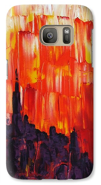 Galaxy Case featuring the painting Sunset Of Melting Waterfall Behind Chicago Skyline Or Storm Reflecting Architecture And Buildings by M Zimmerman MendyZ