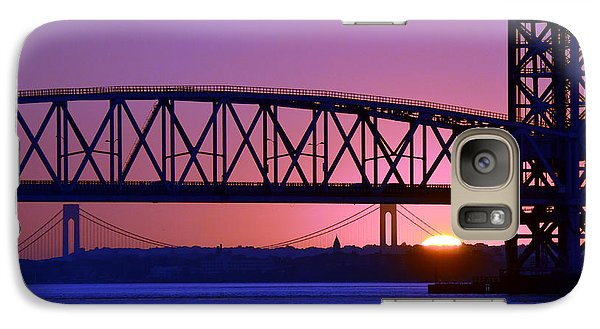 Galaxy Case featuring the photograph Sunset Verrazano Under Marine Park Bridge by Maureen E Ritter
