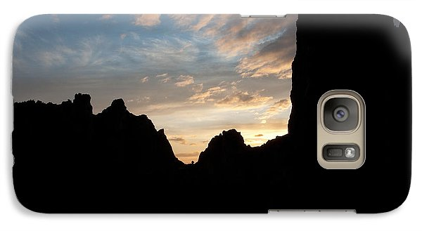 Galaxy Case featuring the photograph Sunset With Rugged Cliffs In Silhouette by Karen Lee Ensley