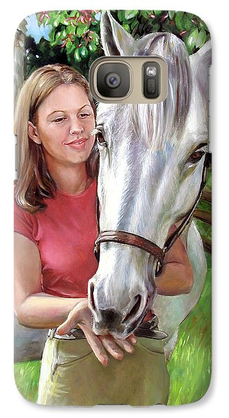 Galaxy Case featuring the painting Suzanne With A White Horse by Nancy Tilles