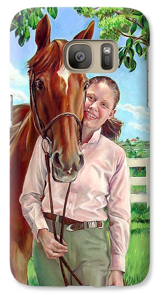 Galaxy Case featuring the painting Suzanne With Her Horse by Nancy Tilles
