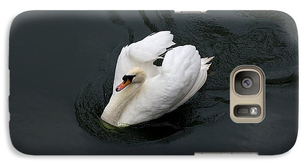 Galaxy Case featuring the photograph Swan On Black Water by Les Palenik