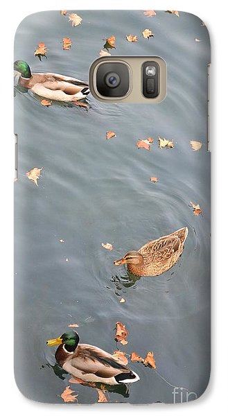 Galaxy Case featuring the photograph Swimming Ducks And Autumn Leaves by Kathleen Pio