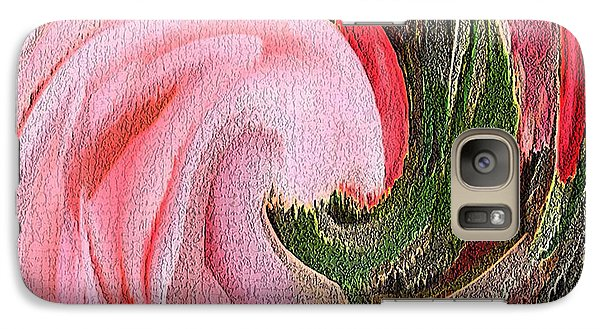 Galaxy Case featuring the painting Swirling Pink Parrot Feather by Richard James Digance