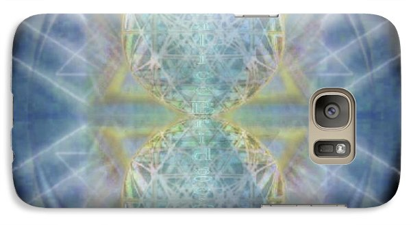 Galaxy Case featuring the digital art Synthecentered Chalice In Ovoid On Black by Christopher Pringer