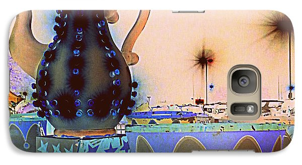 Galaxy Case featuring the photograph Tea Pot And Cups Ride With Inverted Colors by Renee Trenholm