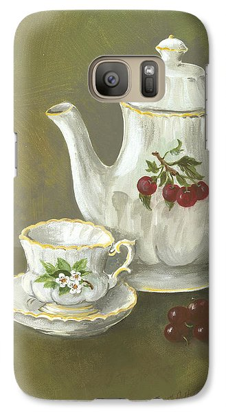 Galaxy Case featuring the painting Tea With Cherries  by Nancy Patterson