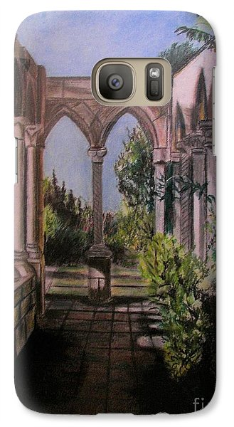 Galaxy Case featuring the painting The Cloisters Colonade by Judy Via-Wolff
