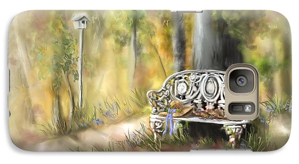 Galaxy Case featuring the painting The Garden Bench by Bonnie Willis