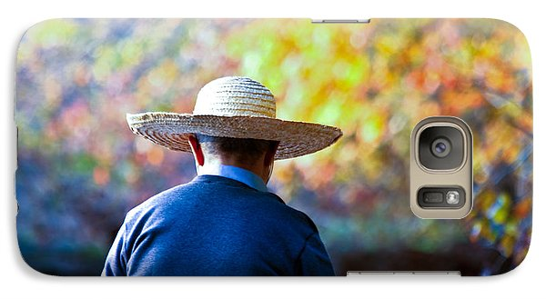 Galaxy Case featuring the photograph The Man In The Straw Hat by Ann Murphy