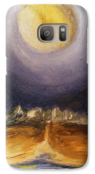 Galaxy Case featuring the painting the Moon by Karen  Ferrand Carroll