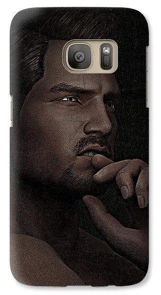 Galaxy Case featuring the digital art The Pensive Man - Cracked Colour by Maynard Ellis
