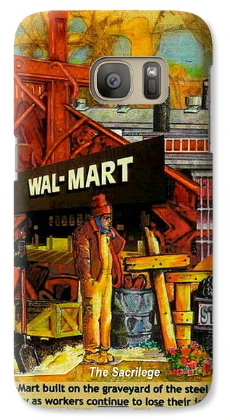Galaxy Case featuring the mixed media The Sacrilege Walmart Built In Grave Yard Of Steel Industry by Ray Tapajna