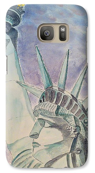 Galaxy Case featuring the painting The Statue Of Liberty by Eva Ason