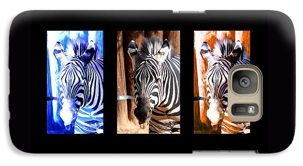 Galaxy Case featuring the photograph The Three Zebras Black Borders by Rebecca Margraf