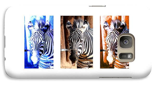 Galaxy Case featuring the photograph The Three Zebras White Borders by Rebecca Margraf